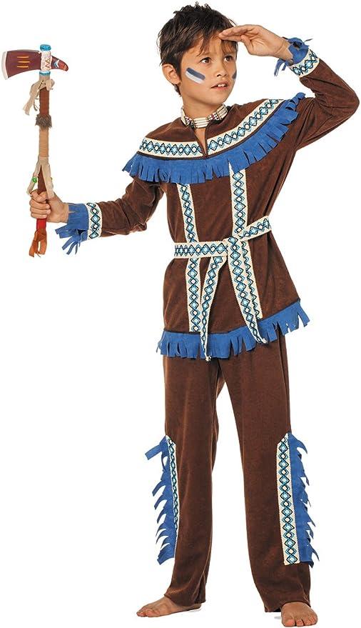 Disfraz de indio con flecos azules niño 8-10 años (128-140 ...