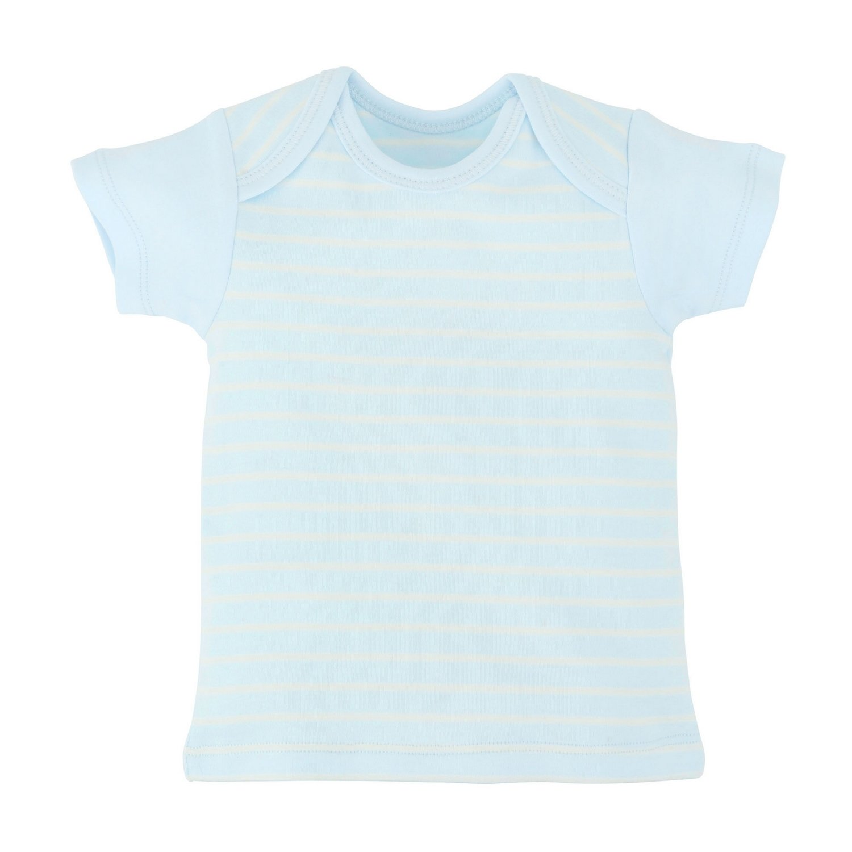 Under the Nile Baby Short Sleeve Lap Shoulder T-Shirt Stripe Organic Cotton Sage Stripe, 3-6 Months