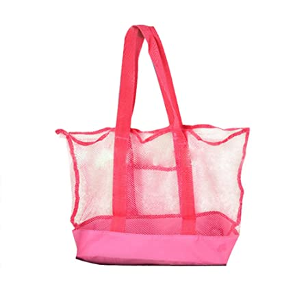 89f04e0592 Leisial Mesh Beach Bag Tote Womens Mesh Summer Tote Zip Closure Shoulder  Bags Shopper for Girls