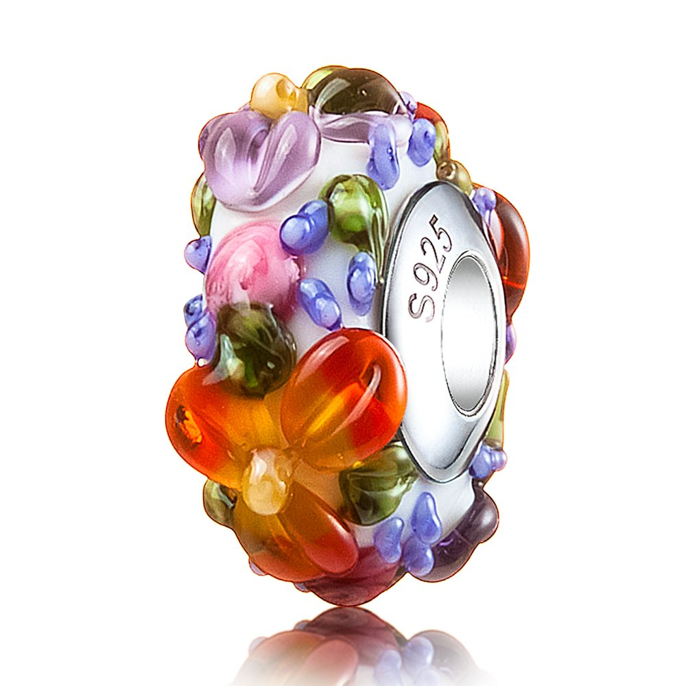 ATHENAIE Murano Glass 925 Silver Core Hawaiian Maui Floral Lei Charms Bead fit Bracelet by ATHENAIE