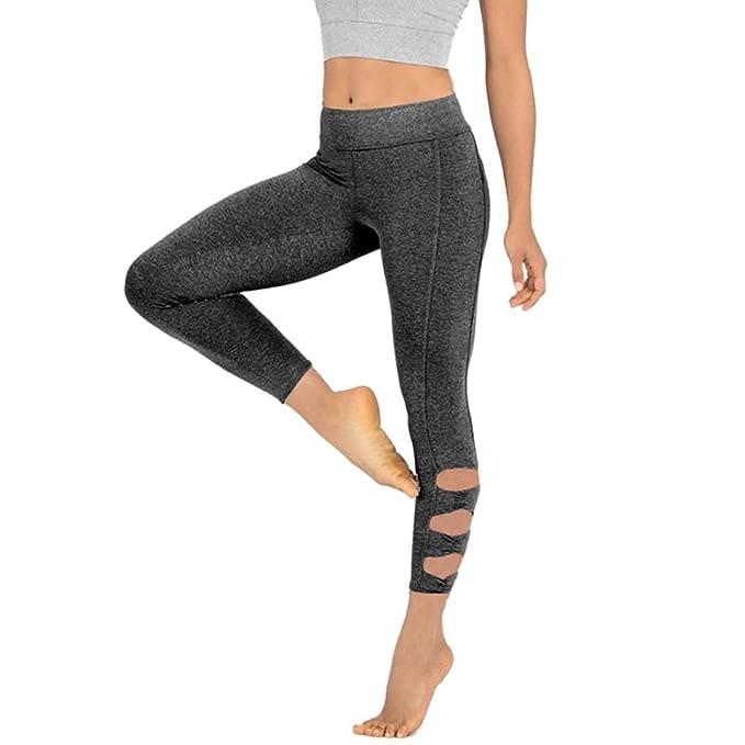KOLY Pantaloni da Yoga Leggins Sportivi Donne Sexy Leggings Magro di Mesh  Push Up Tuta Yoga Pants Leggings Sportivo Yoga Donna Fitness Gym Pantaloni  di Yoga ... 6e71686786b