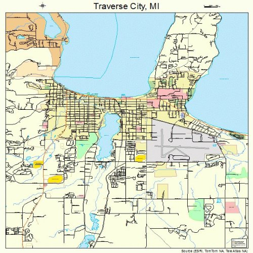 (Large Street & Road Map of Traverse City, Michigan MI - Printed poster size wall atlas of your home town)