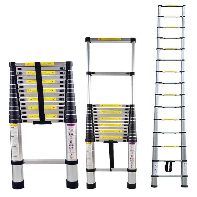 tragbar blackpoolal Ausziehbare Teleskopleiter Dachbodenleiter kompakt 2,6//2,9//3,2//3,8 m, klappbar leicht Aluminium Mehrzweck-Dach-Arbeitsdekoration