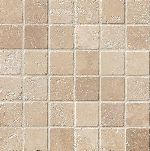 M S International Tuscany Beige 12 In. X 12 In. X 10 mm Tumbled Travertine Mesh-Mounted Mosaic Tile, (10 sq. ft, 10 pieces per (Tuscany Bathroom Mosaic)