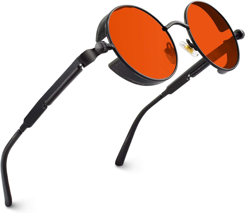 OULIQI Lunettes de Soleil Polaris/ées Ronde R/étro M/étal Cadre Steampunk pour Homme et Femme Unisexe avec Protection UV400