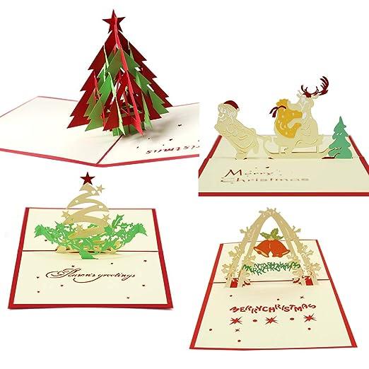 Tarjetas de Navidad 3D desplegables, paquete de 4 tarjetas ...