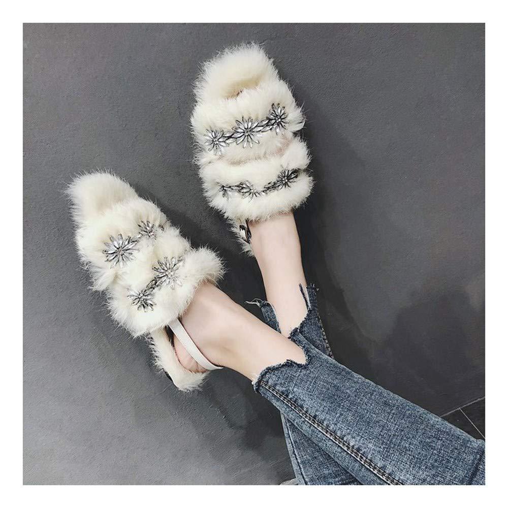 DAMENGXIANG Femmes Mules Open Toe Plush Pantoufles Automne Hiver Mode Strass Chaud Non Slip Muller Chaussures Porter À L'Extérieur 39