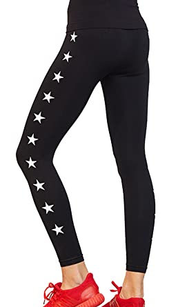 def23636d292a Clothdigger White Stars Printed Black Yoga Leggings Stretchy Tights Running  Sports Yoga Pants