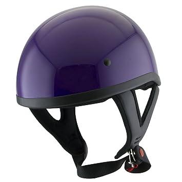 Amazon.es: Outlaw T68 lunares morado motocicleta casco de mitad de calavera - pequeño
