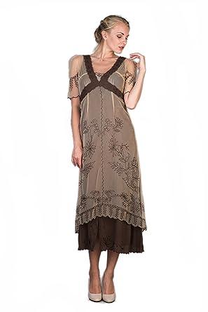 01687bcd0980 Nataya 40007 Women s Titanic Vintage Style Dress in Milk Coffee (Small)