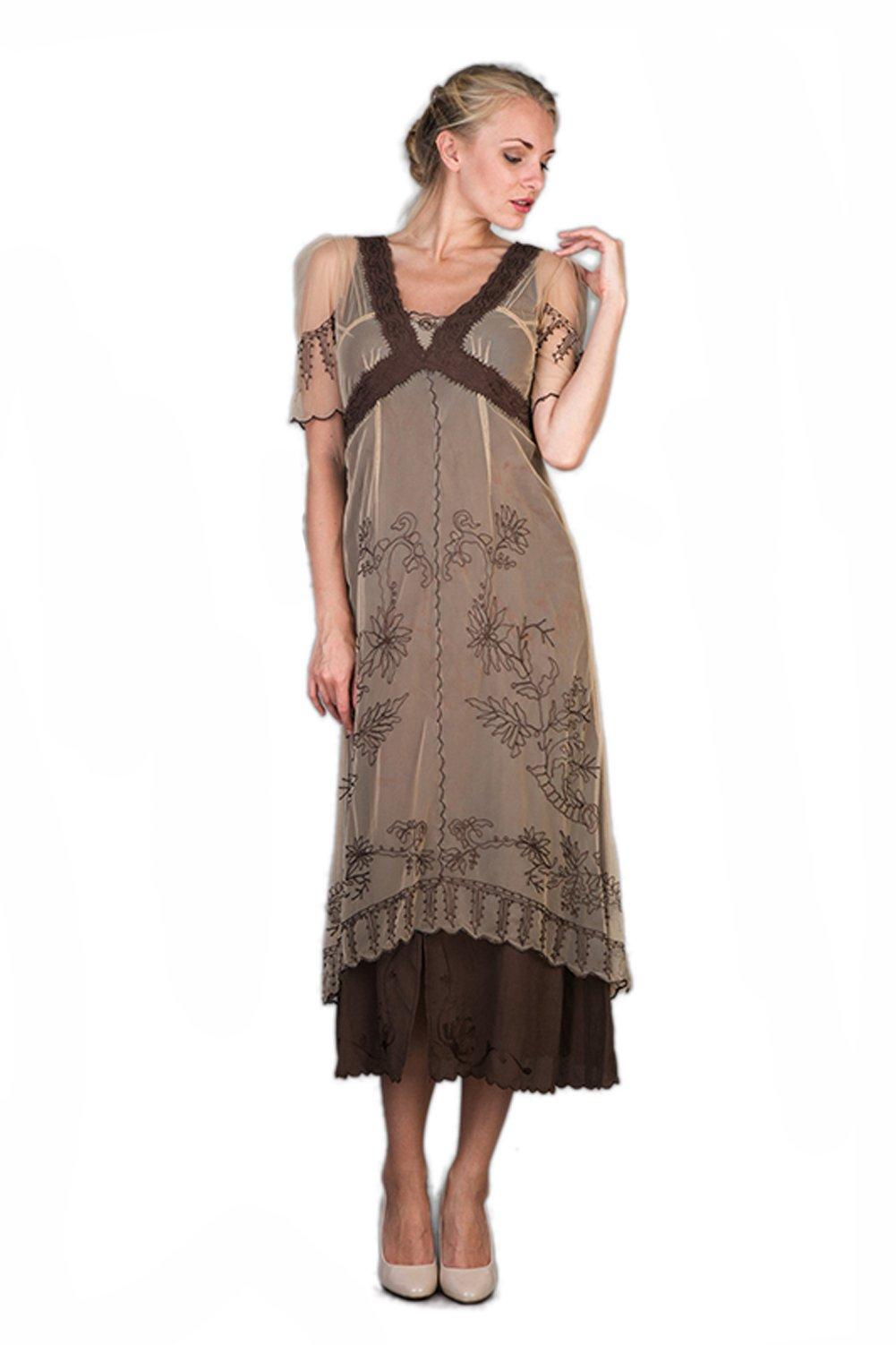 Nataya 40007 Women's Titanic Vintage Style Dress in Milk Coffee (X-Large) by Nataya