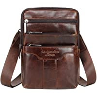 Leather Shoulder Messenger Bag for Men Travel Business Crossbody Pack Wallet Phone Pouch Purse Daypack Coffee