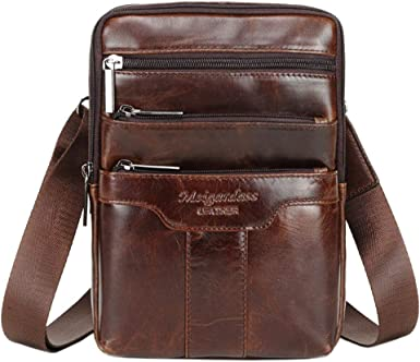 Leather Messenger Bags for Men Genuine Cowhide Vintage Handmade Casual Small Daypack Coffee