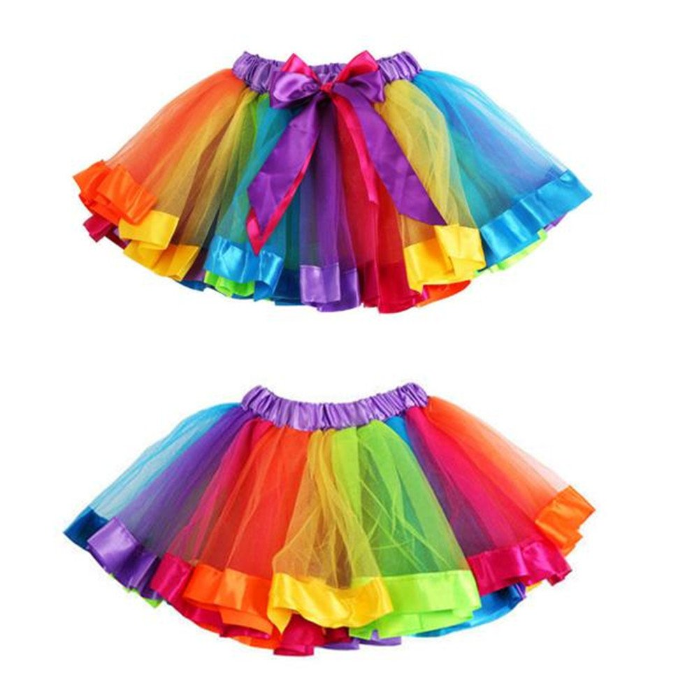 ANBOO Girls Kids Petticoat Rainbow Pettiskirt Bowknot Skirt Tutu Dress Dancewear