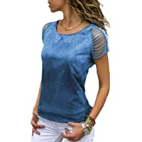 Macondoo Women Tee Ombre Color Ripped Short Sleeve Top Tie Dye T-Shirt