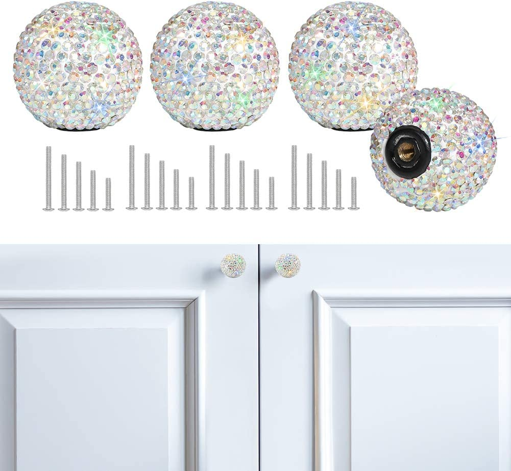 Savori Cabinet Knob Crystal Dresser Cupboard Drawer Wardrobe Door Knobs Bling Round Pull Handle With Screws For Home Kitchen Bathroom Office 4pcs Ab Color Amazon Com