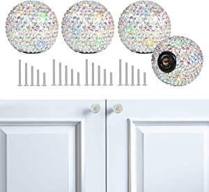 SAVORI Cabinet Knob Crystal Dresser Cupboard Drawer Wardrobe Door Knobs Bling Round Pull Handle with Screws for Home Kitchen Bathroom Office 4PCS (AB Color)