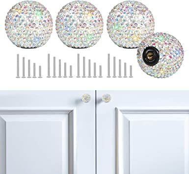 Glass Dresser Knobs Crystal Drawer Knobs Pulls Handles Sparkle Colorful Kitchen Cabinet Knobs Pull Handle Hardware Diamond Cut Knob Silver