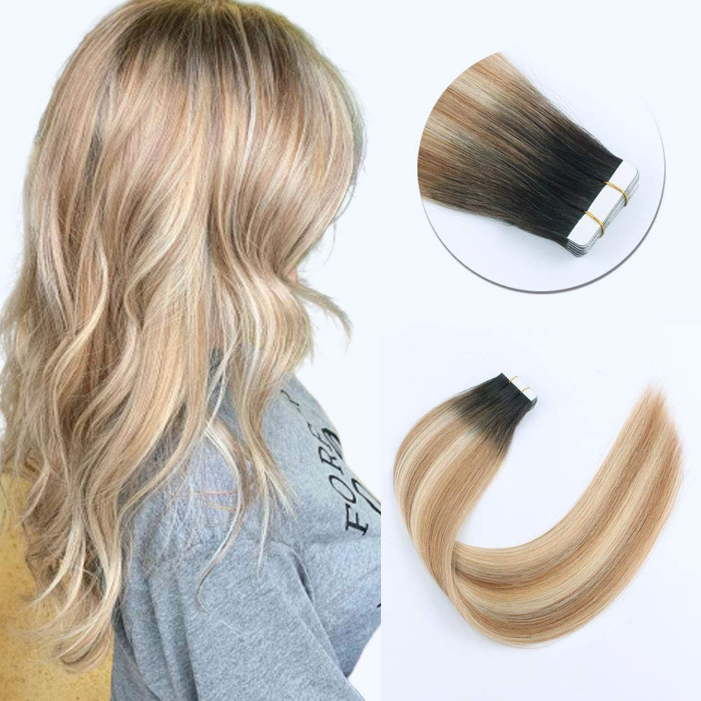 Sixstarhair 50g 18 Tape In Hair Extensions Semi-permanent Ombre Roots Dark Brown Fading to Strawberry Blonde Highlight Platinum Blonde Beautiful[Color R2-27-613 18inch] by Sixstarhair