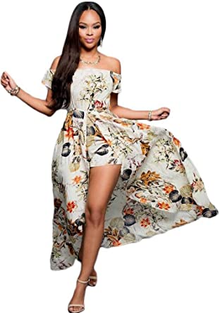 ab32045c54a Kearia Women Summer Sexy Off Shoulder Floral Maxi Skirt Overlay Romper  Playsuit - Beige -  Amazon.co.uk  Clothing