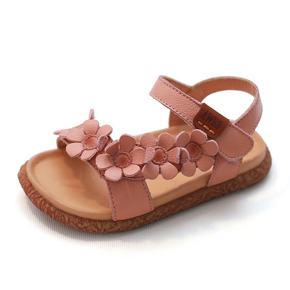 CYBLING Girls Open Toe Leather Floral Summer Casual Sandals Princess Flat Shoes Toddler//Little Kid