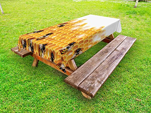 Lunarable Nature Outdoor Tablecloth, Sweet Honey Bees Wax Abstract Insect of Spring Season Artwork Image, Decorative Washable Picnic Table Cloth, 58 X 120 Inches, Apricot Marigold White by Lunarable