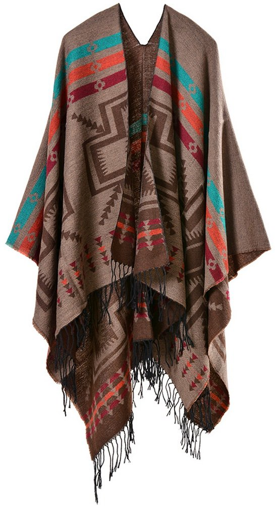 Foucome Winter Cashmere Tassel Poncho Capes Womens Fashion Ethnic Flower Sacarves Thicken Shawl Scarf Coffee