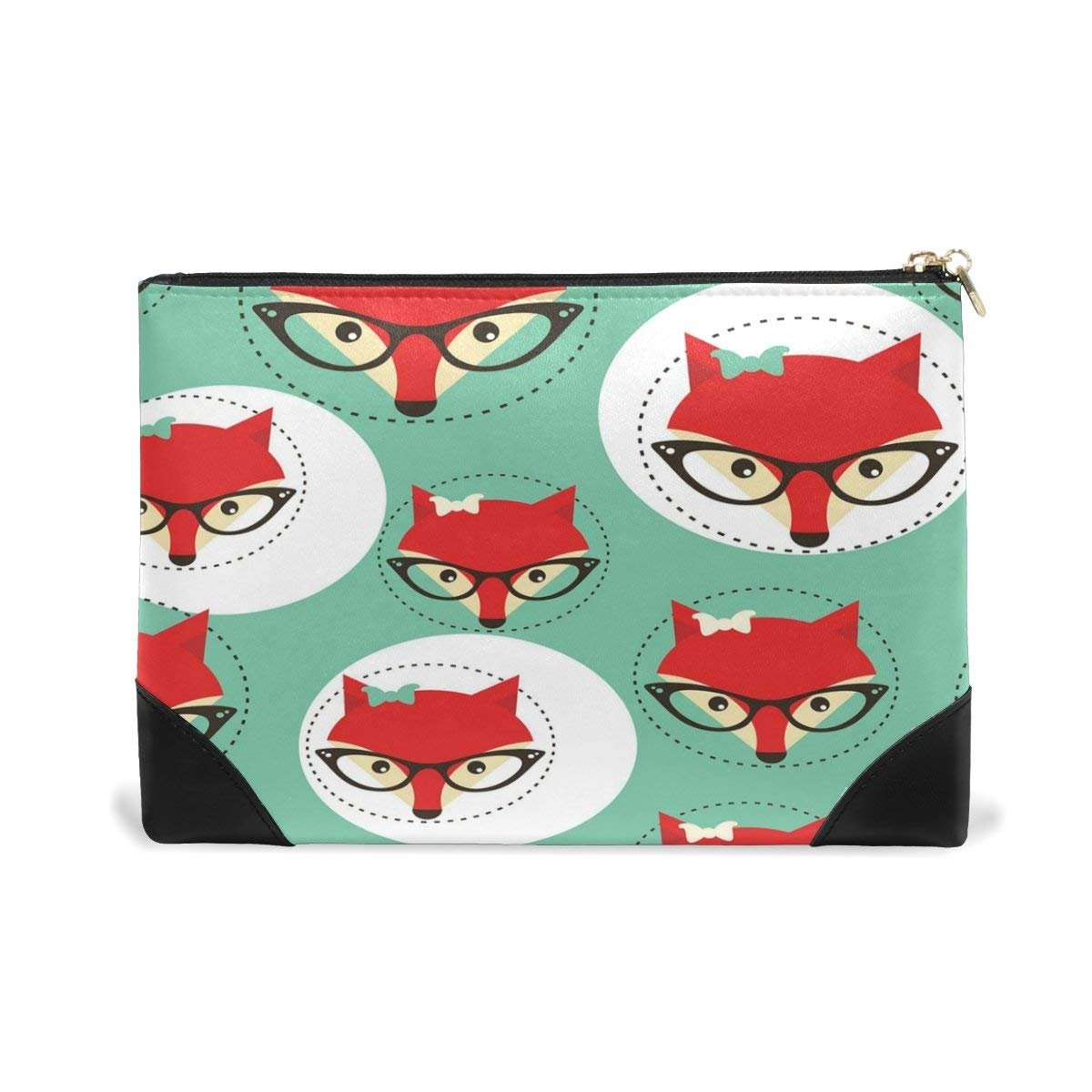 BLEFE Hipster Fox Face with Glasses Makeup Cosmetic Bag Pouch Travel Bag for Women Girls