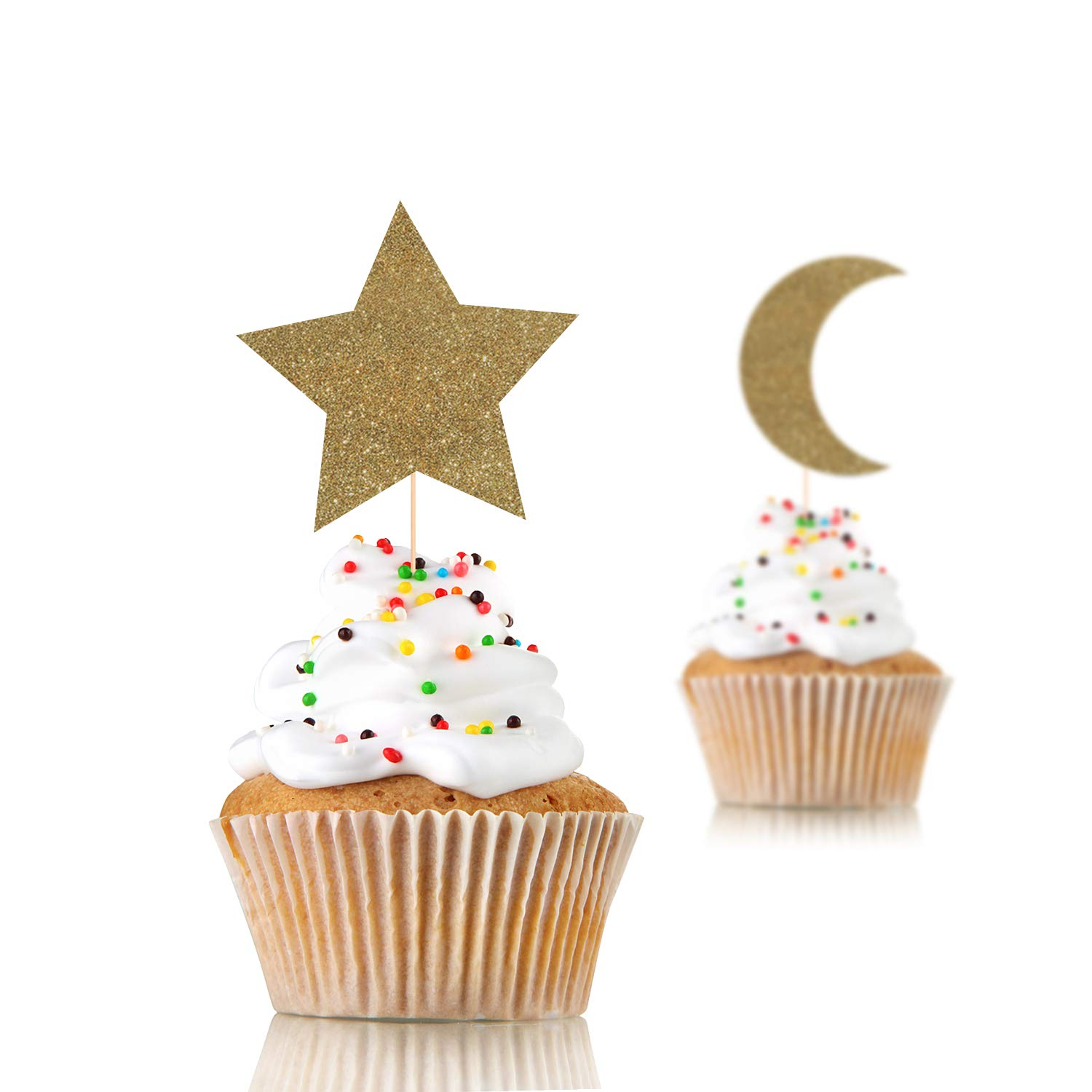 12 X Twinkle Twinkle Little Stern Cupcake Topper, Mond und Stern Cupcake, Stern Theme, Kunst Shower Party, Stern Party Concept