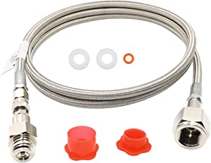 60Inch CGA320 to TR21-4 Soda maker Co2 Tank Cylinder Direct Adapter with External High Pressure Stainless Steel Hose, Soda Adapter Kit for sodastream, Soda Club(TR21-4 G1/2) (60Inch)