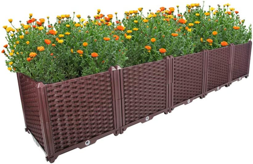 Hershii Deepened Garden Raised Bed Kits DIY Plastic Rectangular Plant Containers Indoor Outdoor Vegetables Herbs Flowers Growing Planter Box - Brown - 76.77 X 15.35 X 14.96 Inches