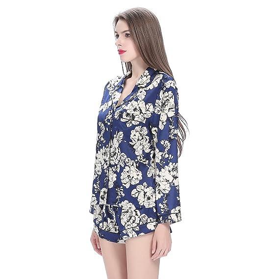 Lilysilk Pijamas de Seda de mujer juego de pantalón corto cuello en V 19 Momme Seda con patrones de flores azul, azul, mediano: Amazon.es: Hogar
