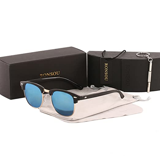 61f763235a7 Ronsou Semi Rimless Horn Rimmed Polarized Sunglasses Women Men Retro Sun  Glasses black frame blue