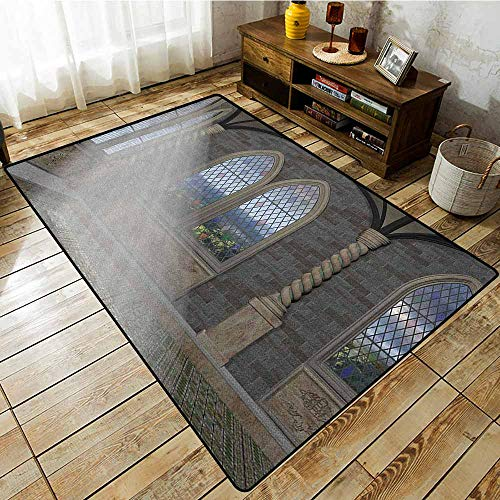 Living Room Rug,Fantasy,Crepuscular Rays Streaming Through Stained Glass Window Ancient Palace Castle,Rustic Home Decor Grey Cream White