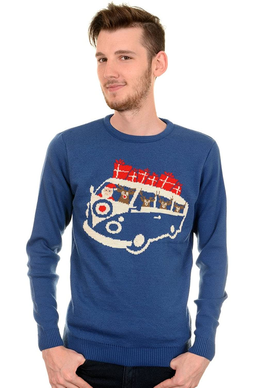 1960s – 1970s Mens Shirts- Dress, Mod, T-Shirt, Turtleneck Mens Run & Fly Retro 60s Retro Santa Van Christmas Jumper $39.95 AT vintagedancer.com
