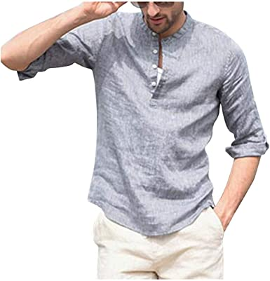 Vintage Mens Cotton Linen T Shirt Button Long Sleeve Blouse Casual Soft Tops