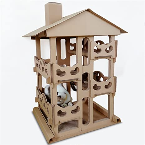 QNMM Cat Corrugated Tower Villa 4To Piso Cat Actividad Interior Apartamento Pet Cat Toy Entretenimiento Rest