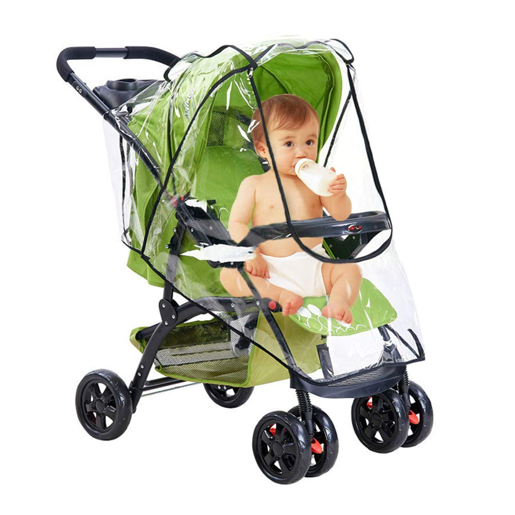 Qivange Stroller Weather Shield Universal Baby Stroller Rain Cover Clear EVA Double Wind Dust Insects Waterproof Shield Cover with Zipper Ventilation by Qivange