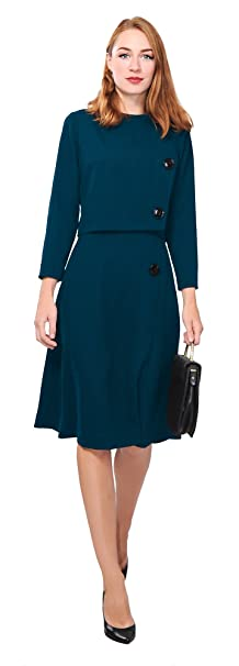 Marycrafts Womens Elegant Dress Work Office Lined Tea Midi Dress 6 Dark Cyan
