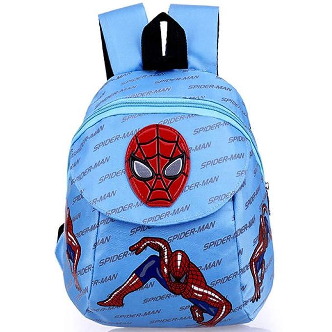 Mochila Escolar Para Niños Adolescentes Ligeros Mochilas Spider-Man Para Niños Y Niñas Bolsas Escolares De 1-5 Años Anti-perdida,Blue-28 * 21 * 12cm: ...