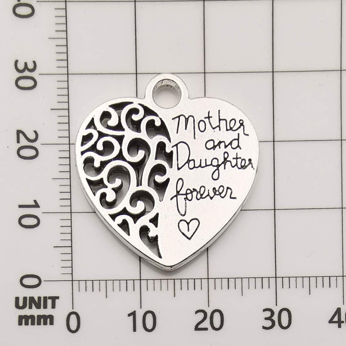 10342 15pcs Craft Supplies Antique Silver Heart Mother and Daughter Forever Words Charms Pendants for Jewelry Making Crafting Findings Accessory for DIY Necklace Bracelet Earrings