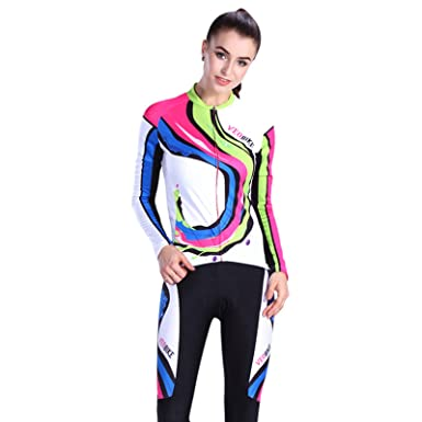 b880bd617 Amazon.com  EoCot Women Cycling Jersey Bike Shirts Breathable Long Sleeves  Tights Suit Biking Bicycle Jacket Pants  Clothing