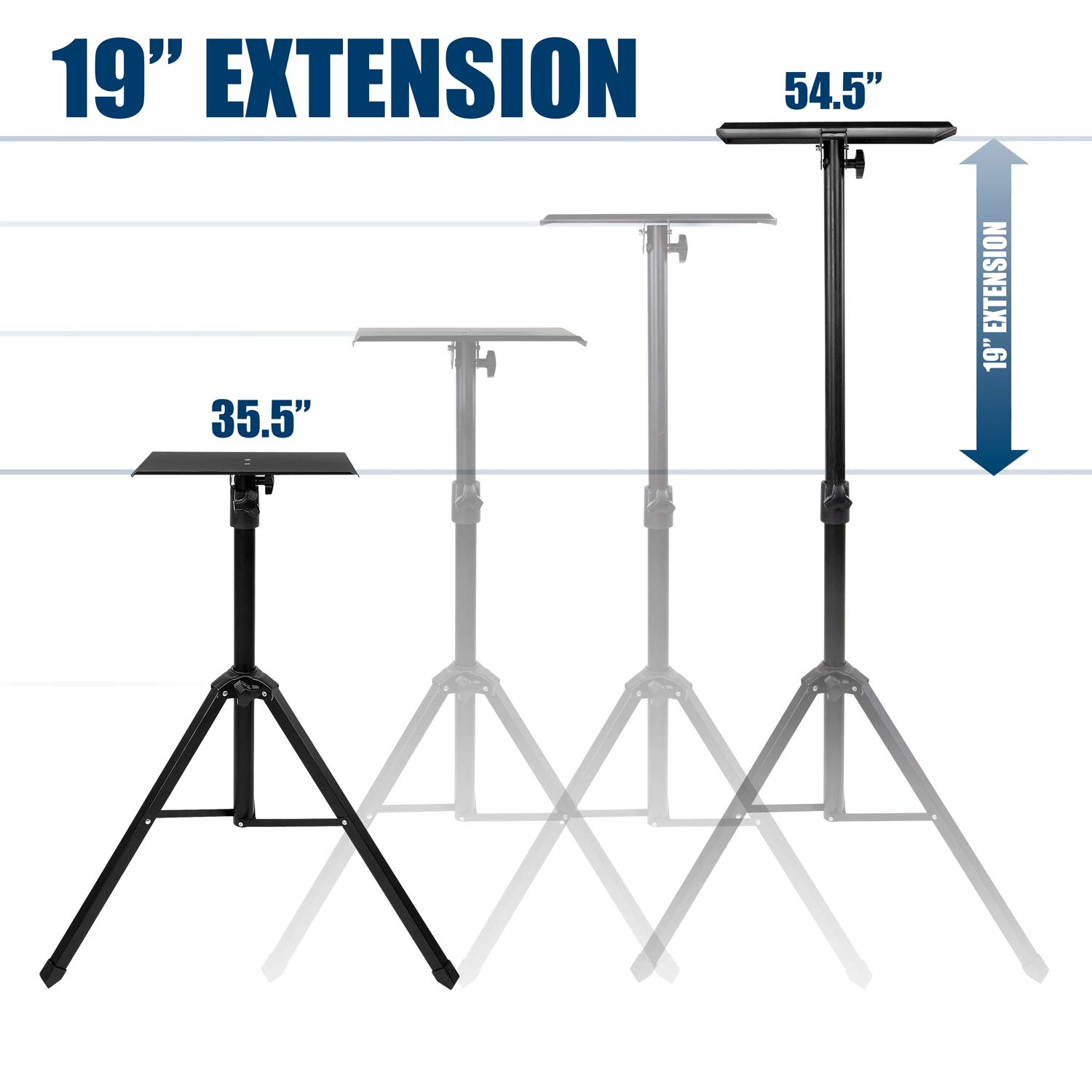 Mount-It! Tripod Projector Stand, Adjustable DJ Laptop Stand with Height and Tilt Adjustment, Portable Laptop Projector Table with Steel Tripod Base and Tray, Black by Mount-It! (Image #5)
