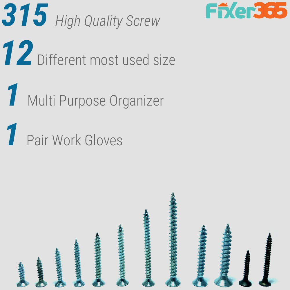 Fixer365-315 Pcs Wood and Drywall Screw Assortment Kit Come