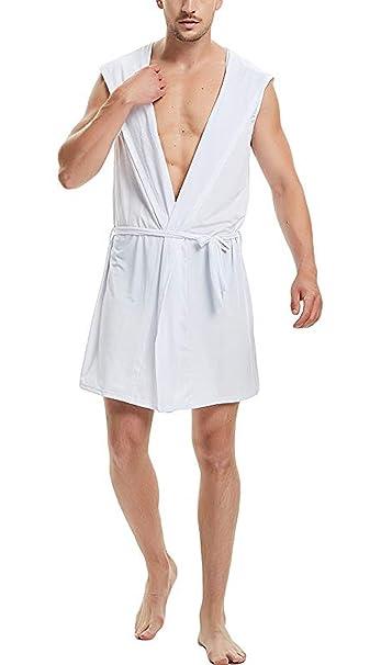 Aieoe - Albornoz Kimono para Hombre de Verano Baño Bata de Baño Ducha para Playa Fitness Piscina Viaje Ligero Fino - Negro Blanco Gris Marrón: Amazon.es: ...