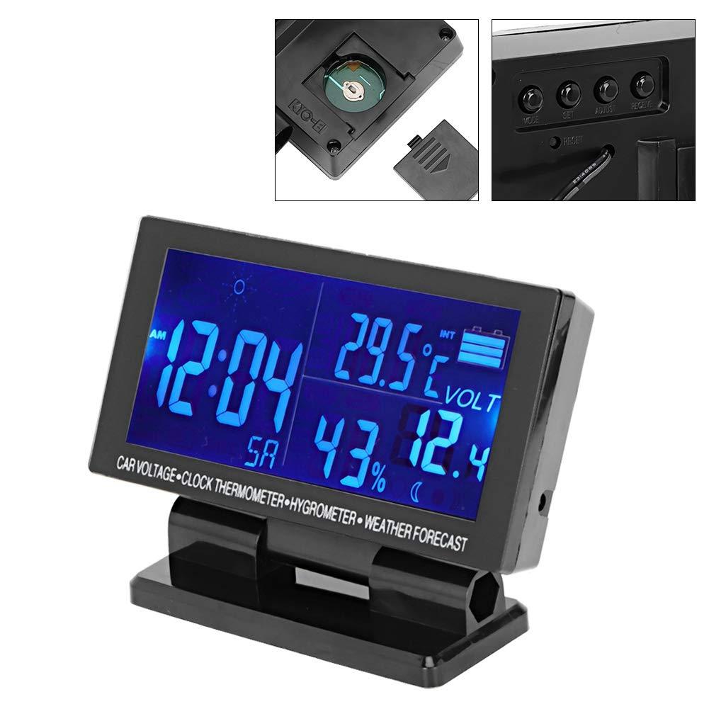 Igrometro termometro per auto orologio digitale per auto Termometro igrometro Voltmetro per veicoli con previsioni del tempo