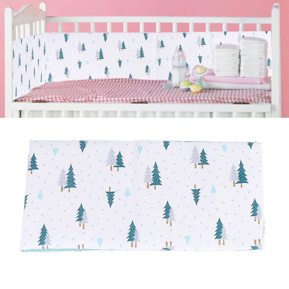 Baby Bed Bumper Crib Safe Protection Cushion Breathable Infant Bed Sheets Skin-Friendly Soft Cotton Cloth(Green Pine) Brrnoo