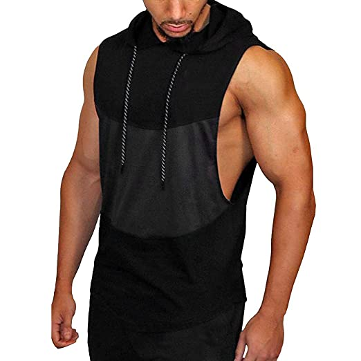 ff404a2cb0a8d nanzhushangmao tshirt Casual Hoodie Tank Tops Mens Active Sleeveless Hoodie  Lightweight Basic Vest Tank Hoodies Black