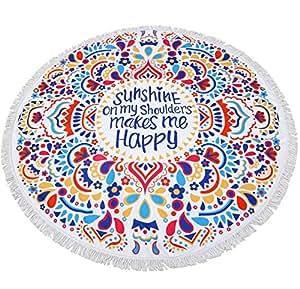 Linked Moda Beach Towel Blanket Tapestry Scarf - Mandala Microfiber Playing Cushion Wall Hanging Tablecloth Yoga Mat Decorations Crown Sunshine Happy Color