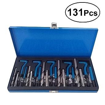 UKCOCO 131pcs juego de reparación de rosca métrica dañado kit de reparación de rosca tipo Helicoil